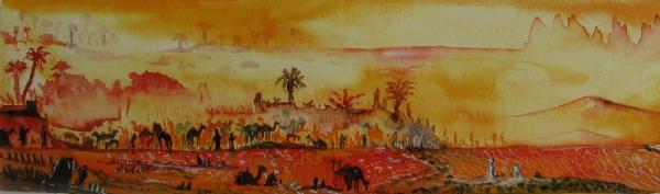 Désert : oasis, caravane sous le soleil